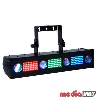 American DJ Fusion TRI FX Bar прибор серии «Fusion», 2 эффекта: красные, зеленые и синие светодиоды с эффектом WASH и STROBO   4 TRI COLOR Pinspot